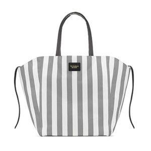 Victoria's Secret Gray/White Stripe Tote, New!